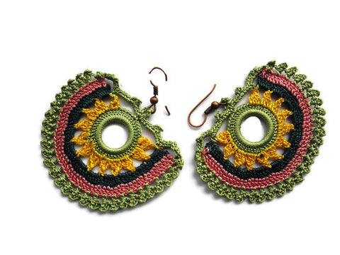 Bohemian earrings, crochet earrings, Avocado/sage,yellow pink