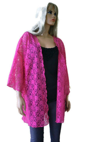 Lipstick Pink lace Kimono Jacket Gorgeous lace kimono soft and pretty, XL to 2X