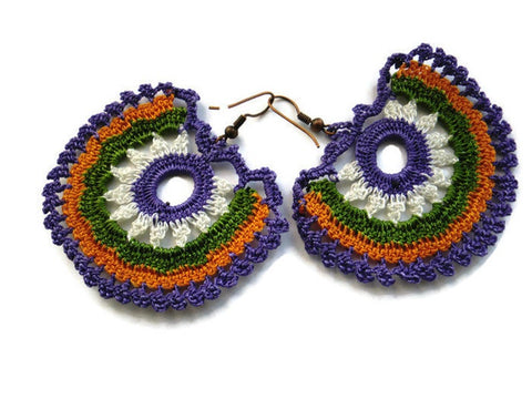 Bohemian crochet earrings, purple green and melon mustard