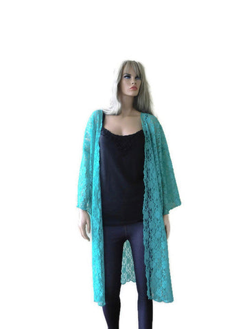 Heavenly Turquoise lace duster, kimono turquoise green ,Medium to Xlarge