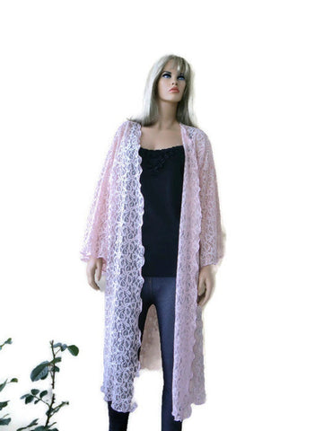 Pale Blush Pink lace duster, Gorgeous lace kimono soft pink plus size, Textilemonster