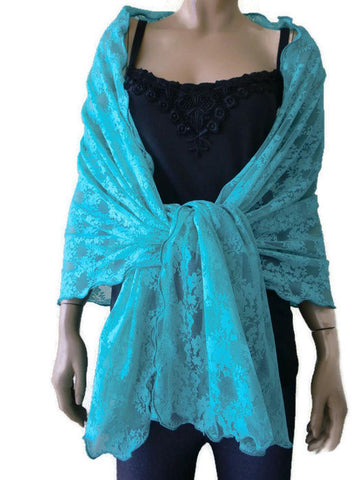 Turquoise green lace shawl,80 inches long 28 inches wide, floral shawl
