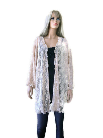 Tan color lace cardigan, Gorgeous lace kimono jacket tan beige beige, soft European lace, plus size
