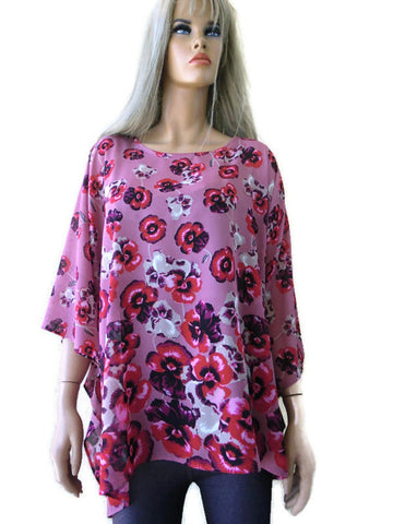 dusty rose and red oversize top,chiffon
