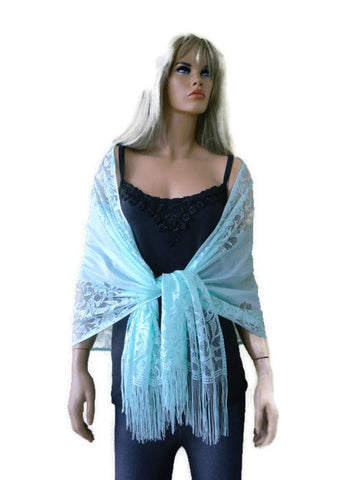 Softest Aqua/mint green lace scarf shawl- Lace fringe scarf-Weddings approved