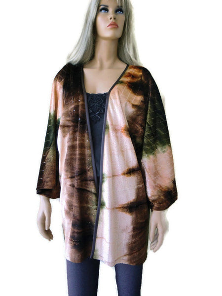 Burnt brown rust olive green velvet oversize Kimono,wide sleeves- slightly sequined