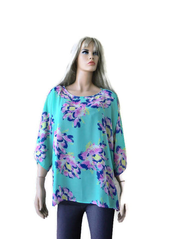 mint green floral chiffon top