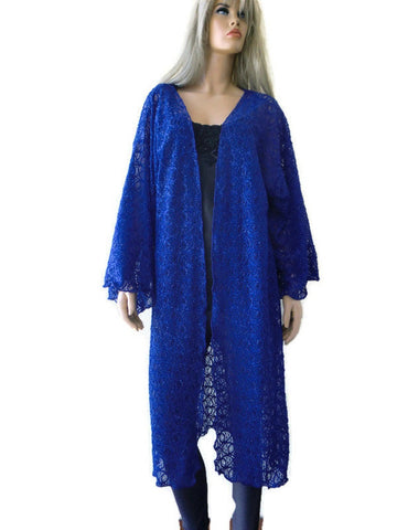 Rich royal blue fancy lace kimono duster-Holiday fashion
