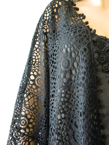 Black lace cardigan, crochet lace look,49 inches wide,32 inches long