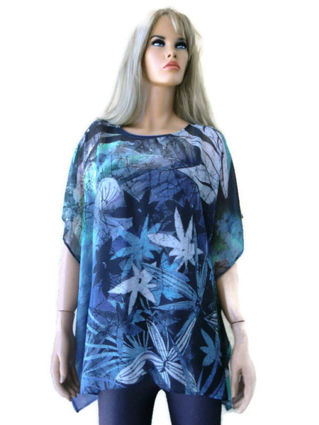 Atlantis Blue,gray and green chiffon summer blouse soft floral print