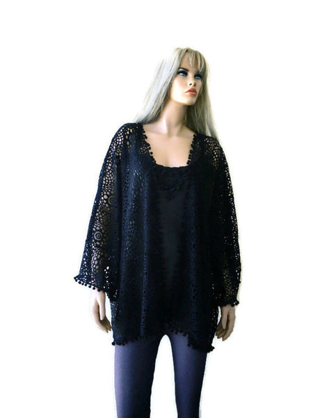 Black crochet lace look kimono jacket with wide sleeves
