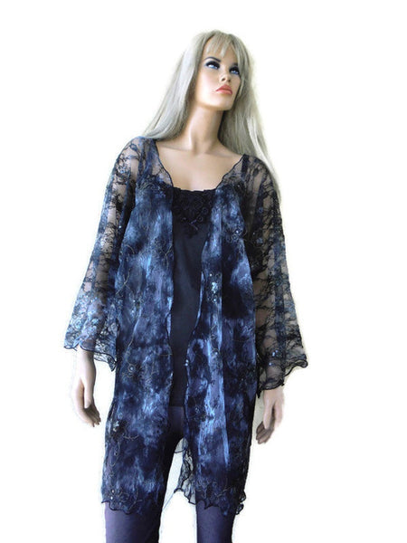 Charcoal french tulle kimono style overcoat, Gorgeous tulle lace kimono with embroidery and sequins