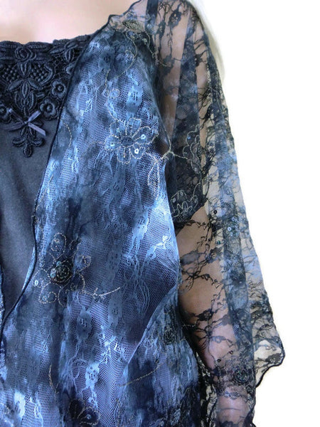 Black tulle kimono style overcoat, Gorgeous tulle lace kimono with embroidery and sequins