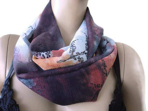 SALE-Fall storm colors Chiffon Infinity scarf cowl Necklace scarf