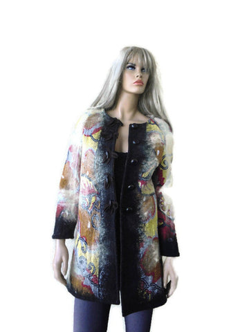 Winter Art Coat, Silk and cotton felted-38 inches wide, 33 inches long, Best for S/M