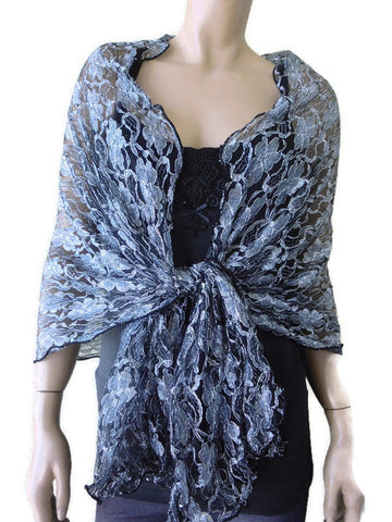 black and silver oversize lace shawl
