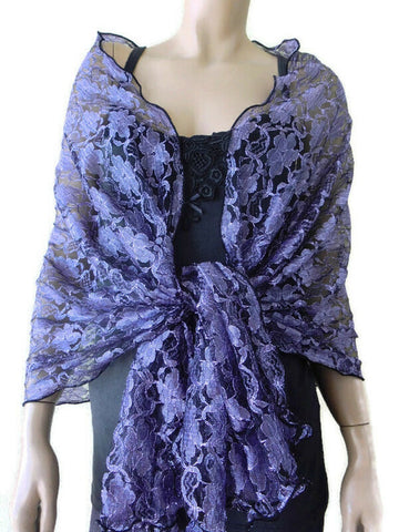 lavender and black lace shawl