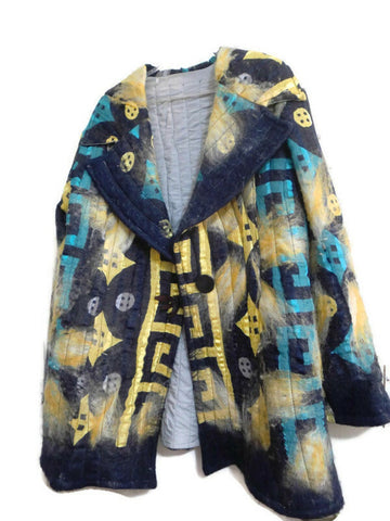 Winter Art Coat, Silk and cotton felted-Plus size,50 inches wide, 31 inches long,Free shipping