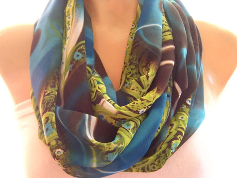 Blue Brown and Pistachio green chiffon infinity scarf Eternity Loop
