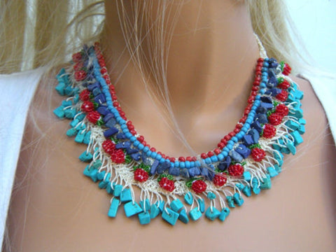 Coral,Turquoise and lapis,Mediterranean bohemian art necklace