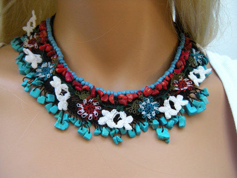 Anatolia- One of a kind Art necklace-with Coral and Turquoise nuggets