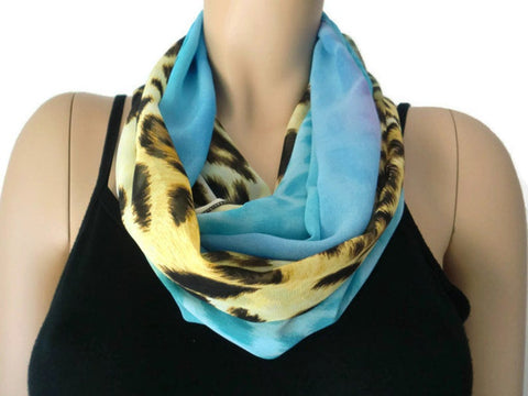 Blue safari,Leopard/animal print and sea blue ,chiffon infinity Scarf/Cowl