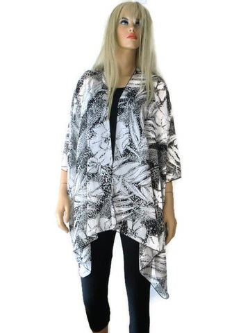 Black and white oversize kimono top