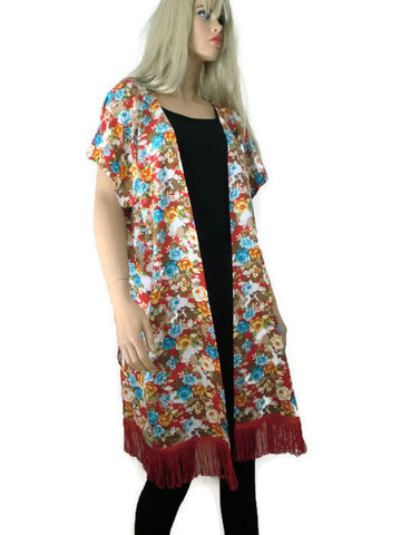 Floral viscose long west,dropped shoulders