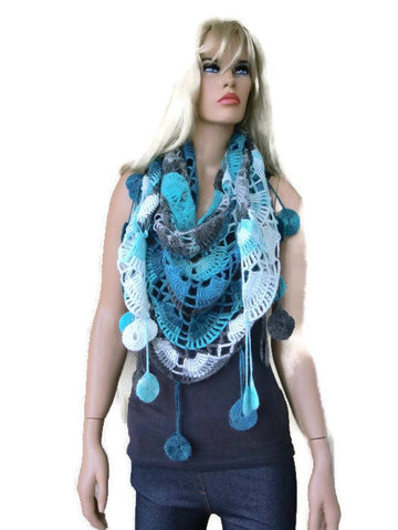 Seaside -Bohemian scarf with fringes, Sea Blue, ,Turquoise, gray, charcoal and white