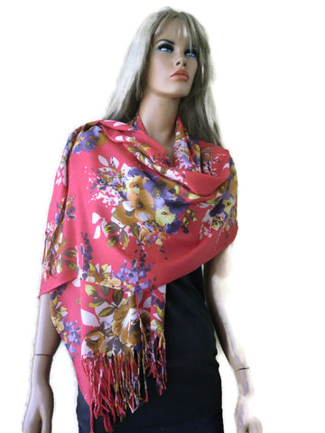 Coral floral viscose fringed shawl- Fiori d'Italia-2020 Spring collection