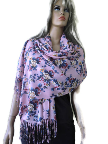 Pale pink and blue floral viscose fringed shawl- Fiori d'Italia- 2020 spring collection