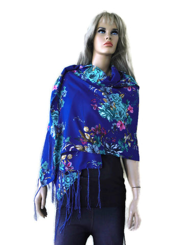 Royal blue and turquoise floral viscose shawl- Fiori d'Italia