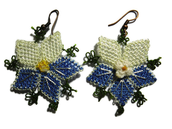 Blue and white lace flower earrings,handmade