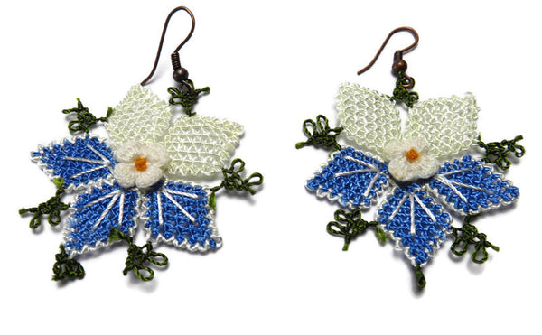 Pretty Lace flower earrings,Blue and white,Handmade needle lace flower