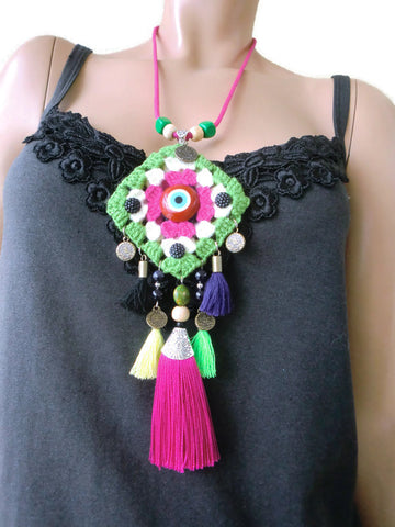 Granny square Hippy necklace with tassels Green Pink and white