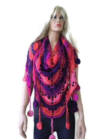 Sunset beach- Bohemian crochet scarf-Pink,purple,red and a little orange-Super lacy