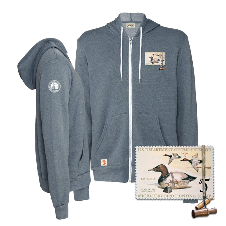 1975-1976 Federal Duck Stamp Full Zip Hoody - Covey and Paddle