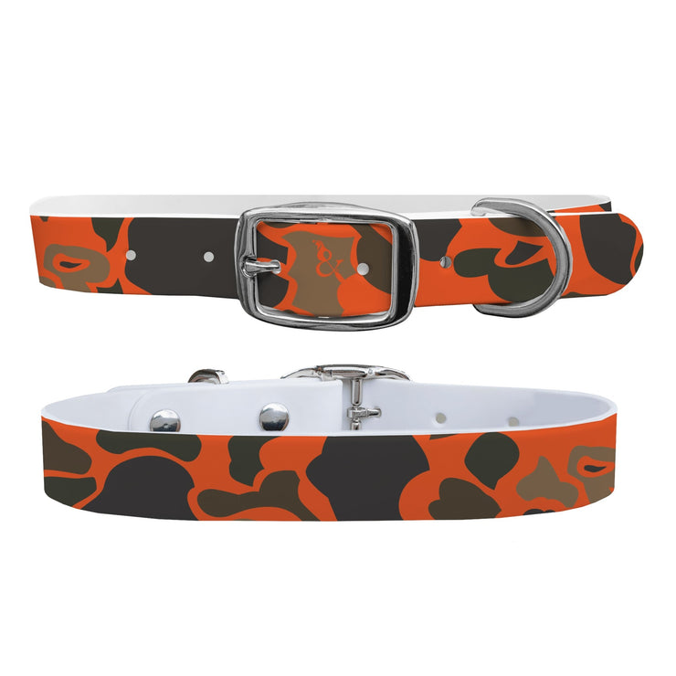 """Orange Brigadier Camo"" Dog Collar - Covey and Paddle"