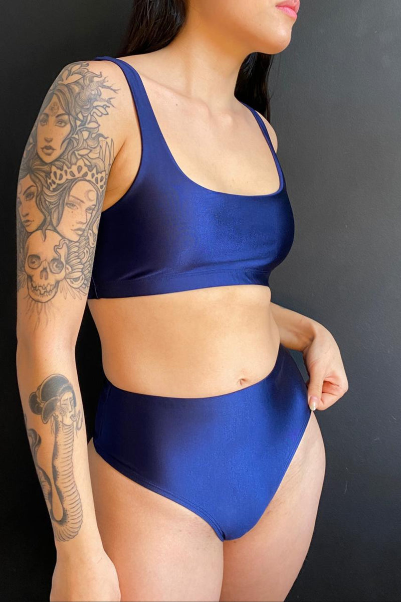 dark blue bikini bottoms - high waisted