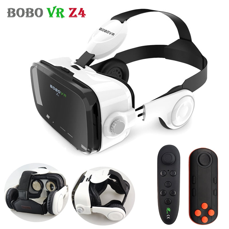 BOBOVR Z4 Leather 3D Cardboard Helmet Virtual Reality VR Glasses Headset Stereo BOBO VR for 4-6' Mobile Phone