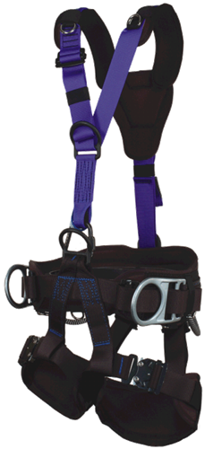 Yates 390 RTR Tower Access full body Harness for extra support with oversized hip d-rings and a seven inch waist pad