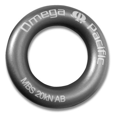 Forged aluminum rap ring for bail-outs and rap stations. Anodized gray for minimal visual impact. Solid construction (not hollow) for 20kN minimum breaking strength (over 4400lbs)! Not intended for repeated lowering. from Omega pacific tagged at 20kN/4500Lbs. Communication tower climber/construction ready.  now at a deeply discounted sale closeout price
