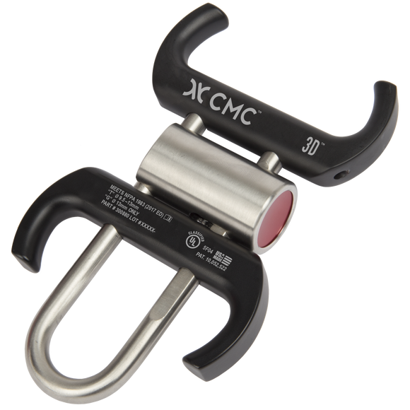 CMC 3D™ locking-bar descender PART#300880 Designed in 2019 to be able to load the rope from both sides with the quick release button color-coded and read making at the ultimate rescue rack in a compact design with the four ears