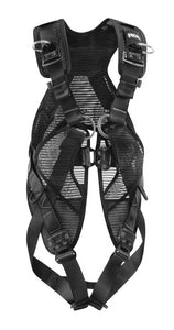 Petzl NEWTON EASYFIT  Easy-to-don fall arrest harness ~ALL BLACK part#PT-C73JFN 1U for union stage Riggers and non-union stevedores with Cirque du Soleil and nonreflective black, AITSE special pricing