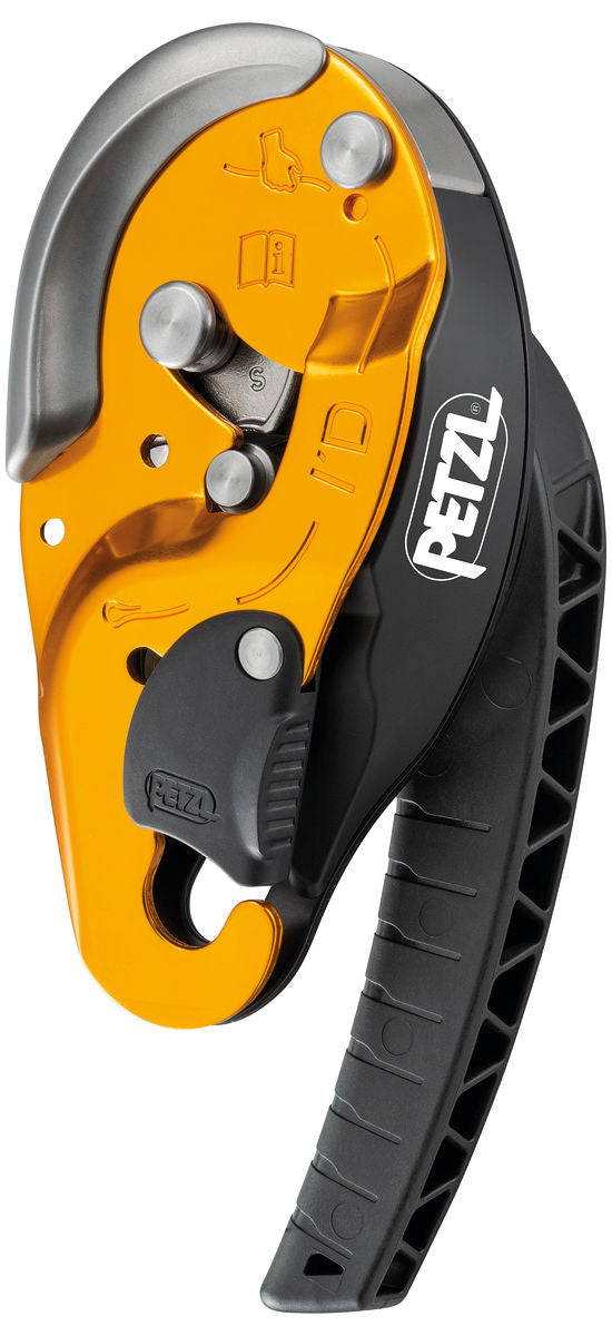Petzl I'D S Self-braking descender with anti-panic function for work at height and rope access work part#D020AA00 yellow