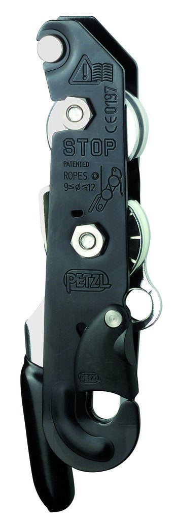 Petzl STOP descender, Black - 9-12mm fit