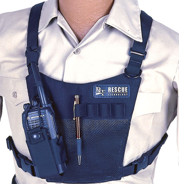 RT Mesh Radio Chest Harness Rescue Tech part#820305.. Lightweight & Adjustable webbing shoulder straps with quick-adjust elastic chest strap.  Mesh provides excellent ventilation for hot climates. Elastic loops holds pens, flashlights, etc.   Ideal for outdoor work or stage Rigging we're cooler comfort is desired.  Communication tower climber/construction ready.  now at a deeply discounted sale closeout price