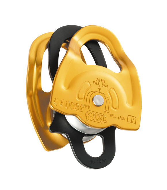 Special side plates designed for use with a Prusik friction hitch on this Gemini pulley by petzl
