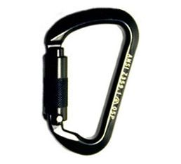A two-stage easy to open de aluminum carabiner rated at over 6000 pounds in an auto lock gate all black for stage Riggers