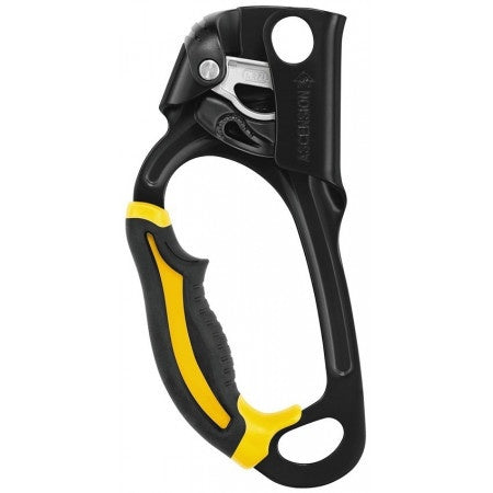 petzl ascension in LEFT yellow/black color part# B17ALA.  SAR, mountain rescue, USAR ready.  Rope Access SPRAT/IRATA ready now at a deeply discounted sale closeout price